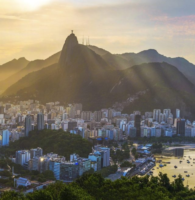 Panoramic view of Rio De Janeiro, Brazil landscape, Corcovado Moutain in Sunset