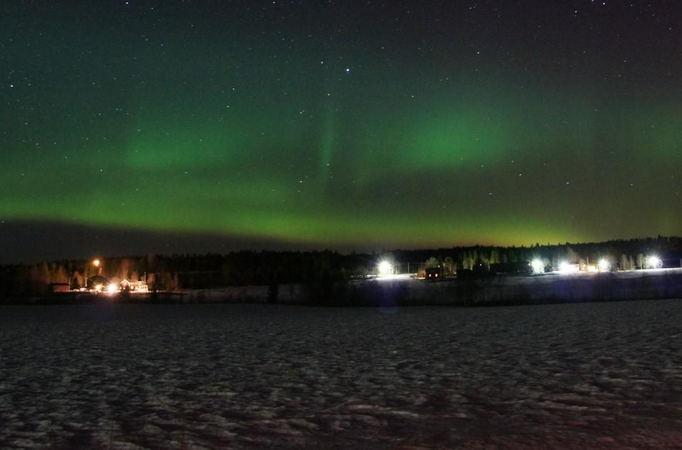 Szwecja zorza polarna zima
