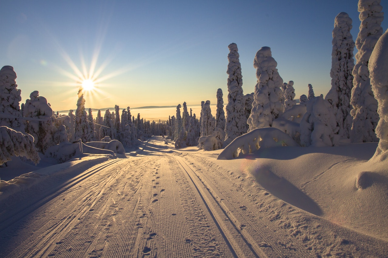 W góry zimą las zachód słońca